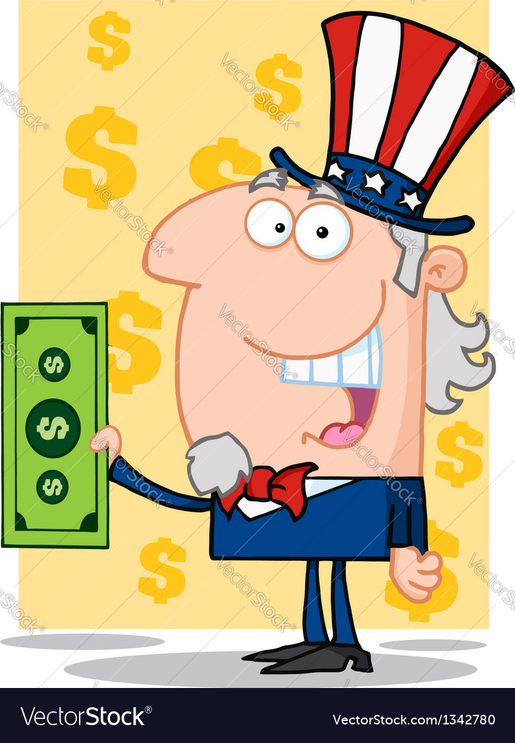 Happy uncle sam with holding a dollar bill vector | Price: 1 Credit (USD $1)