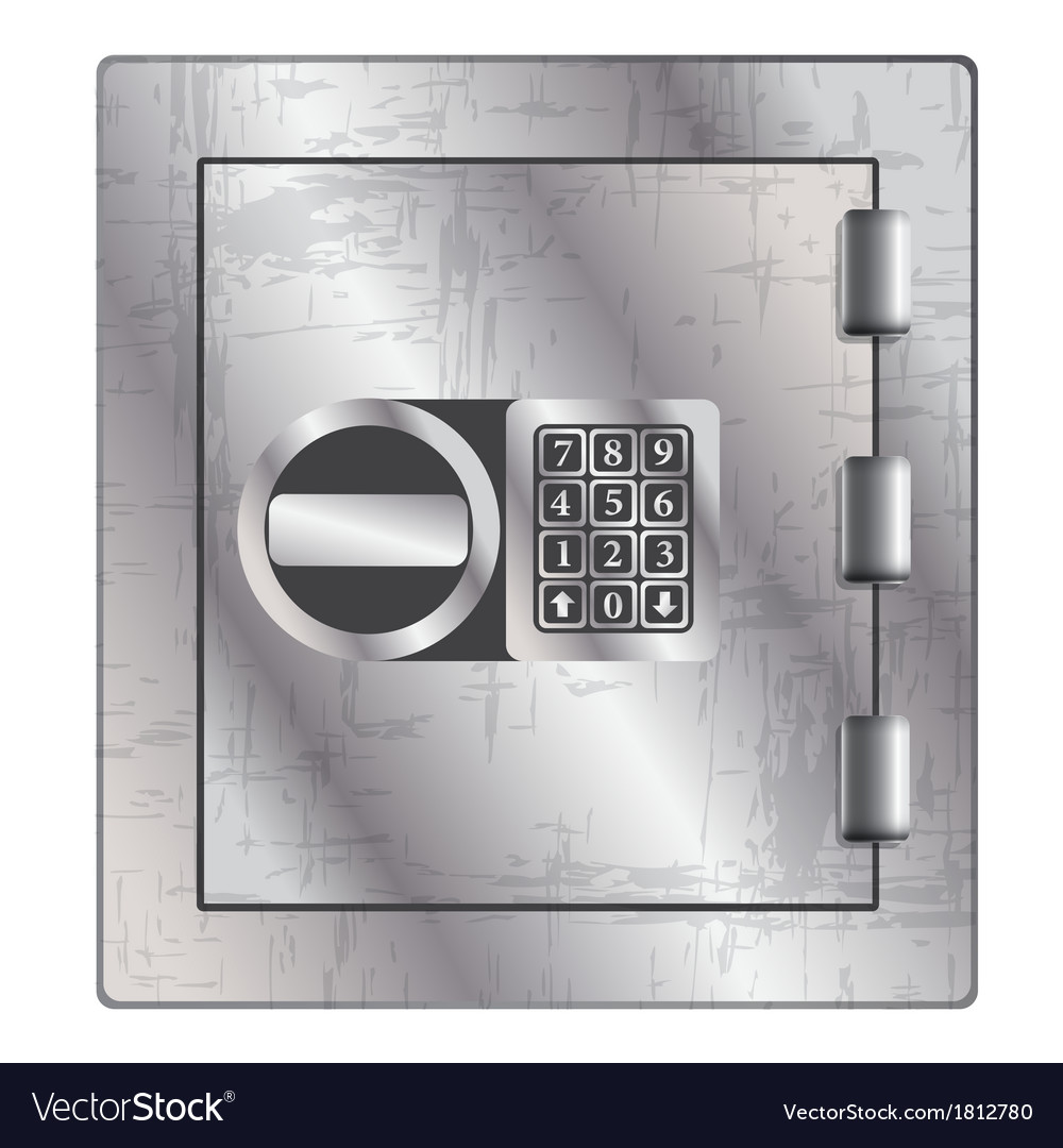 Metallic safe for storage of valuables vector   Price: 1 Credit (USD $1)