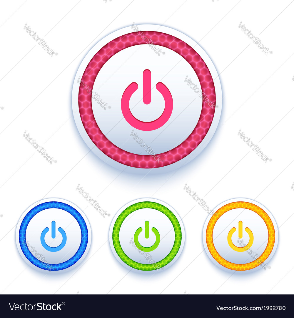 Power buttons icon set vector | Price: 1 Credit (USD $1)