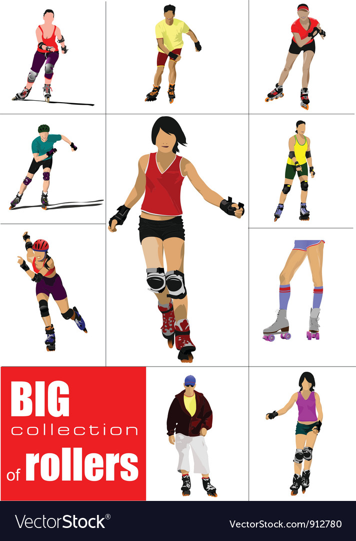 Rollerskating girls vector | Price: 1 Credit (USD $1)