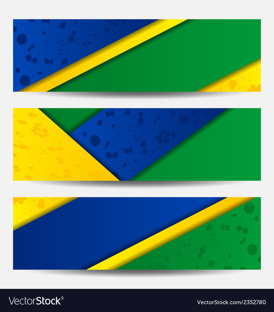 Set football flyers in brazil flag colors vector | Price: 1 Credit (USD $1)