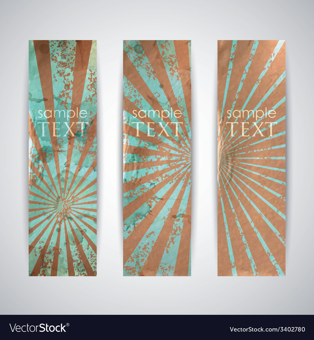 Set of vintage banners with grunge cardboard vector | Price: 1 Credit (USD $1)