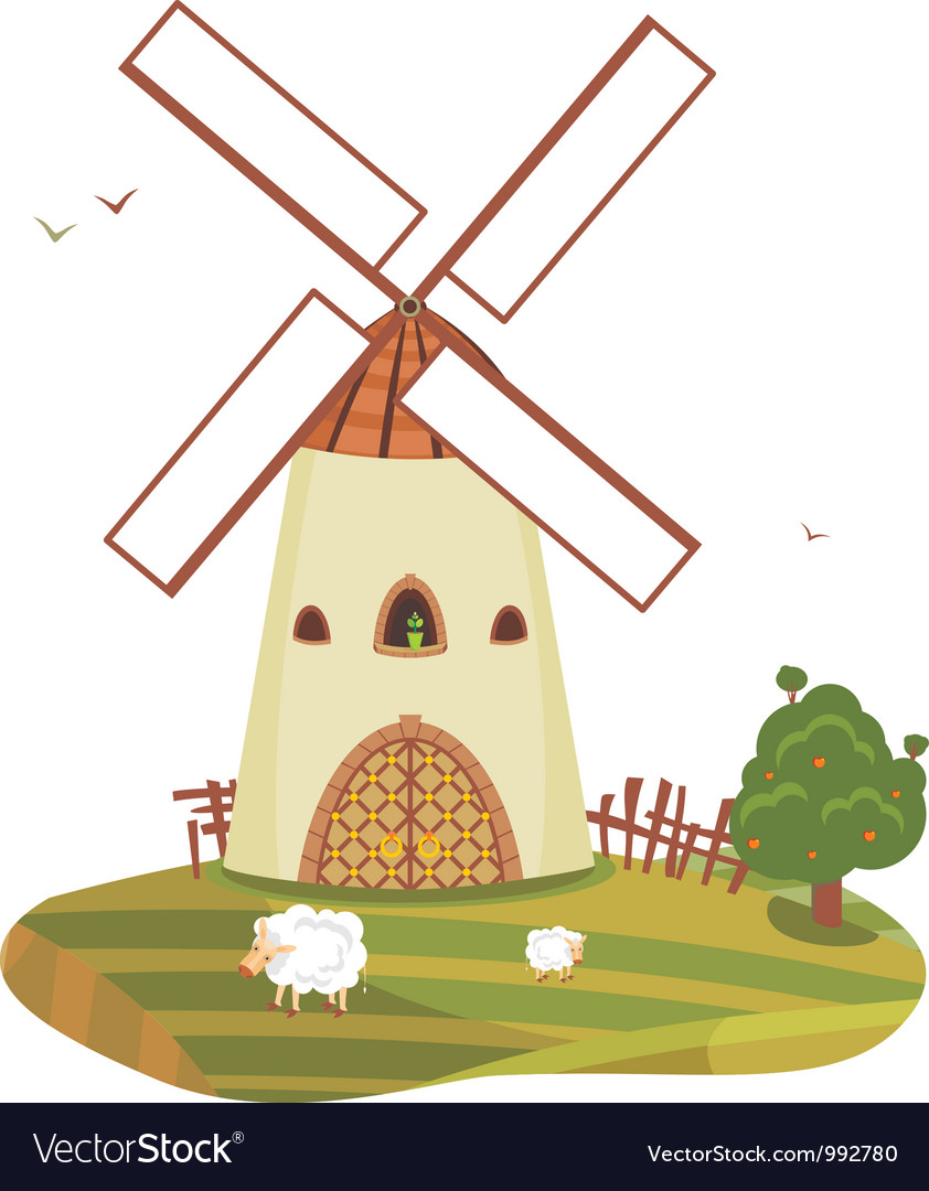 Windmill landscape vector | Price: 1 Credit (USD $1)