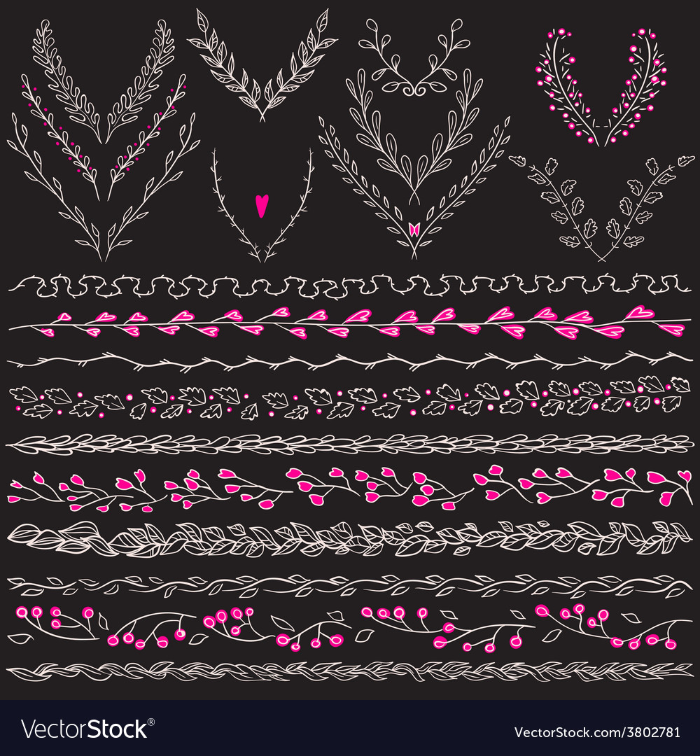 Chalkboard set of hand drawn floral graphic design vector | Price: 1 Credit (USD $1)
