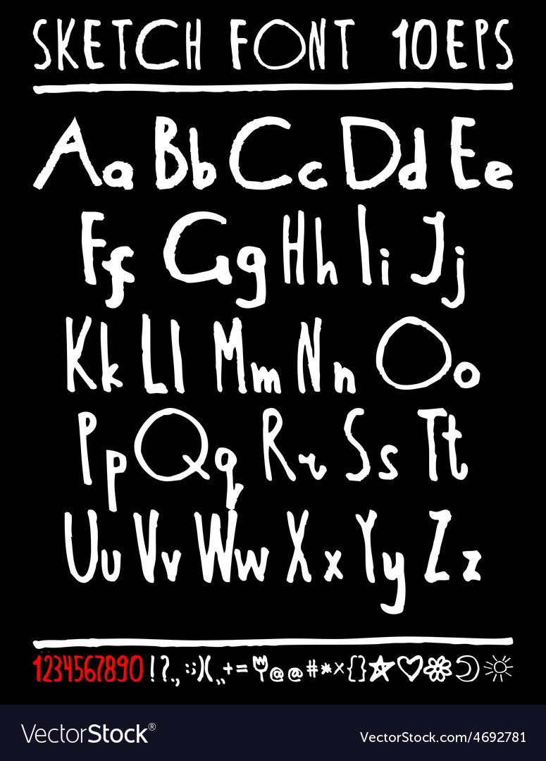 English handwriting alphabet figures vector | Price: 1 Credit (USD $1)