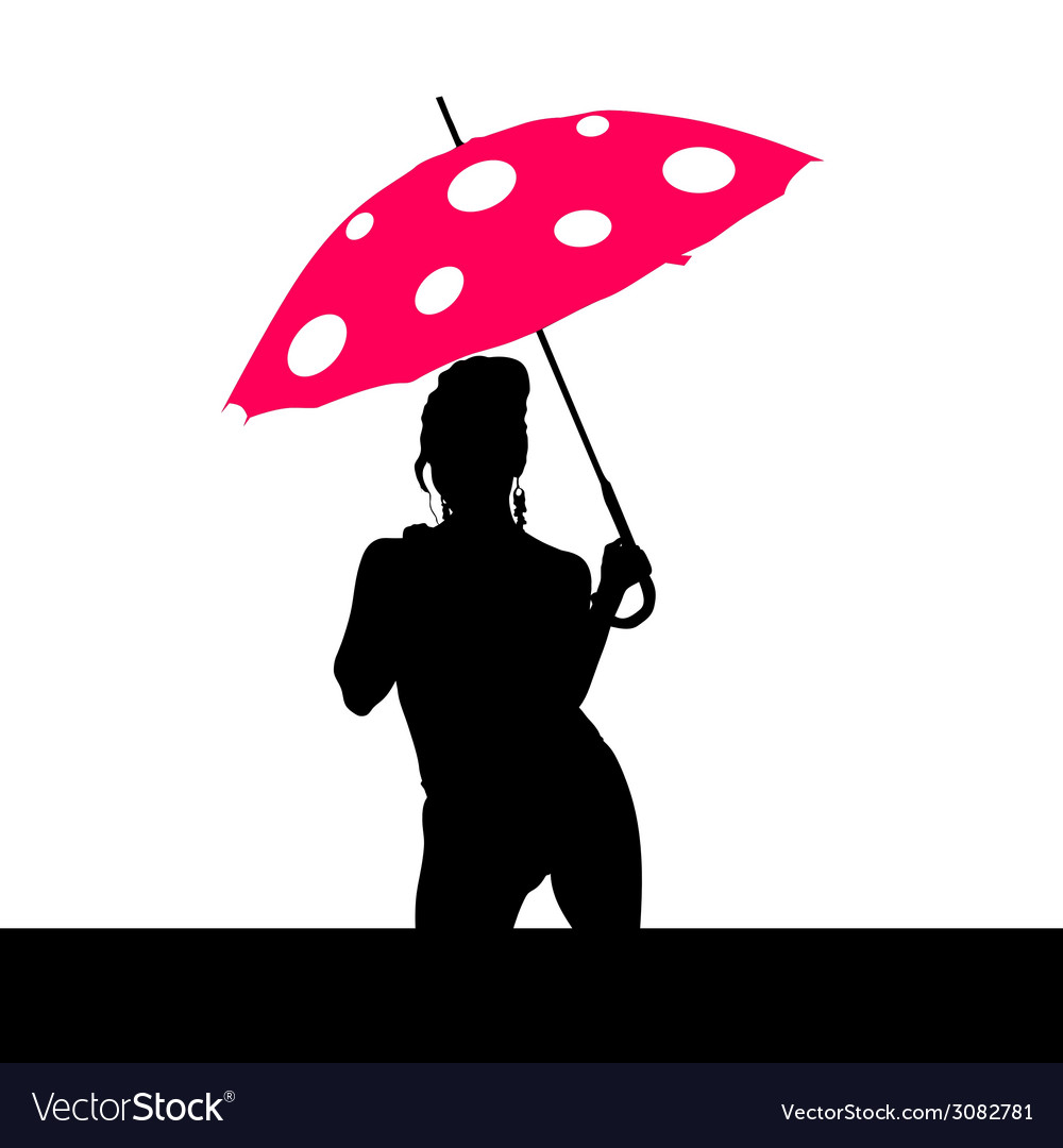 Girl holding red umbrella silhouette vector | Price: 1 Credit (USD $1)