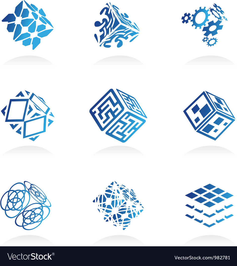 Network cube icons set vector | Price: 1 Credit (USD $1)