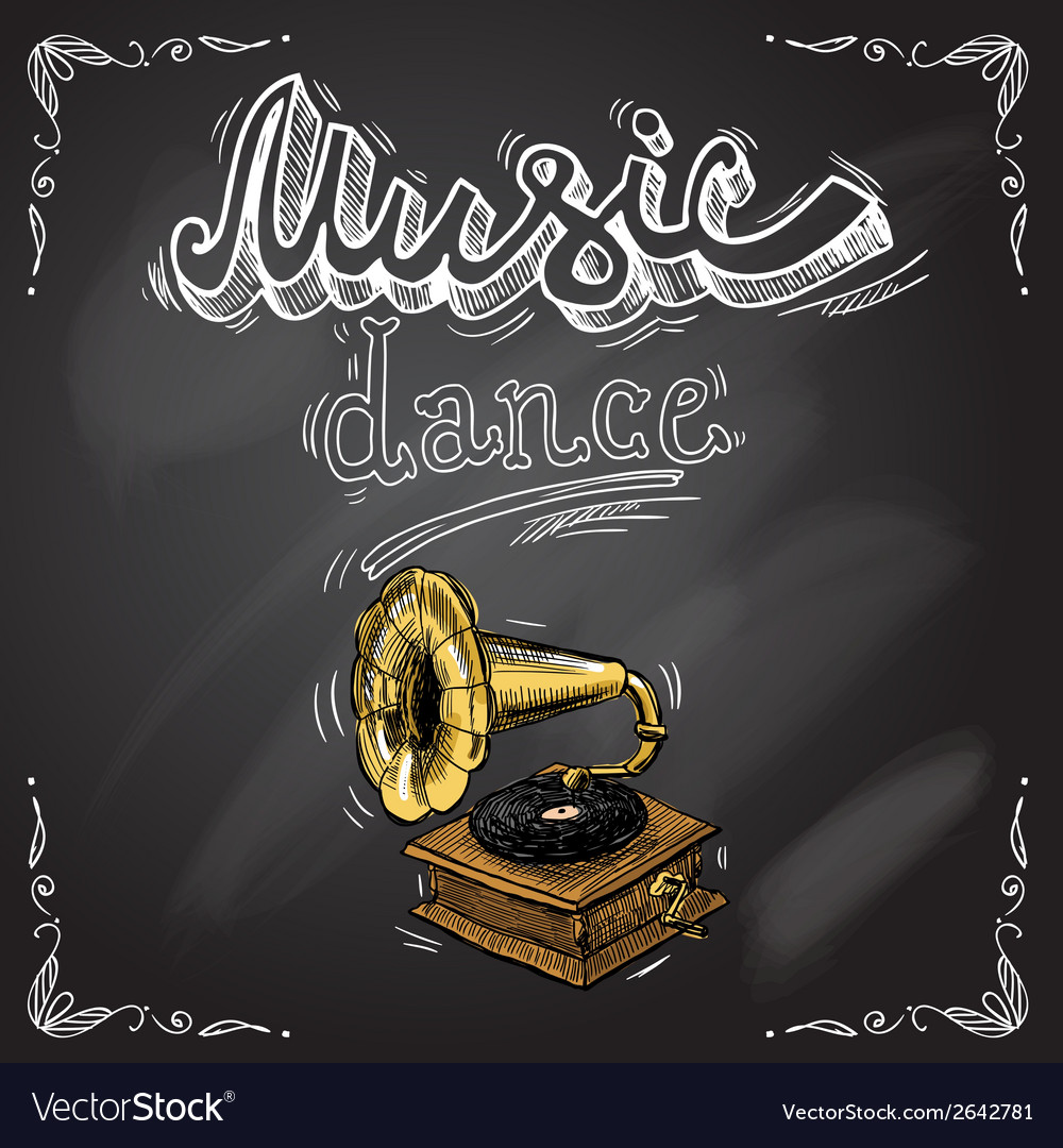 Retro vintage gramophone poster vector | Price: 1 Credit (USD $1)