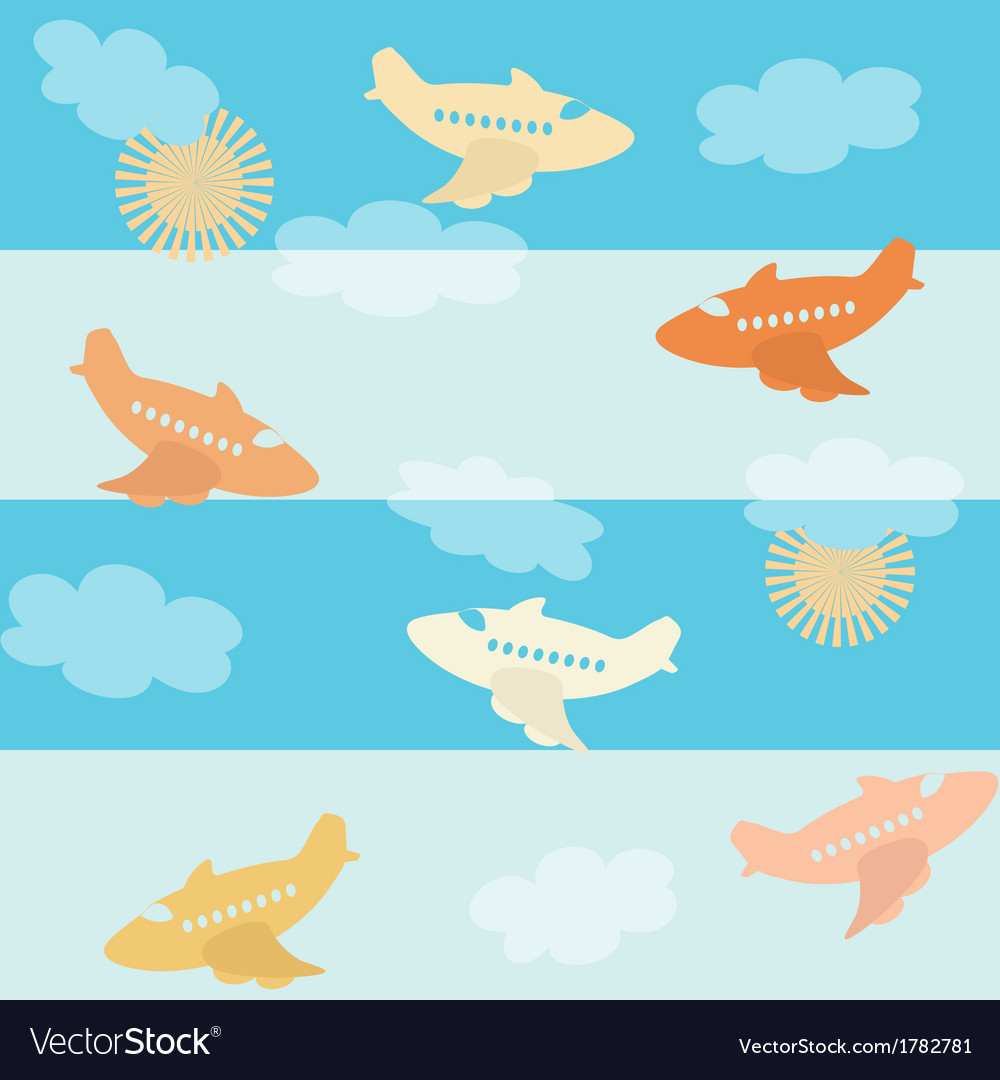 Seamless airplane pattern vector | Price: 1 Credit (USD $1)