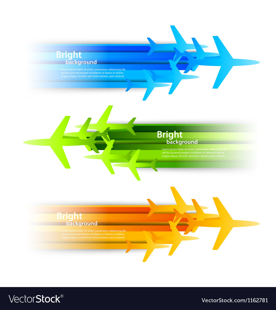Set of banners with airplanes vector | Price: 1 Credit (USD $1)