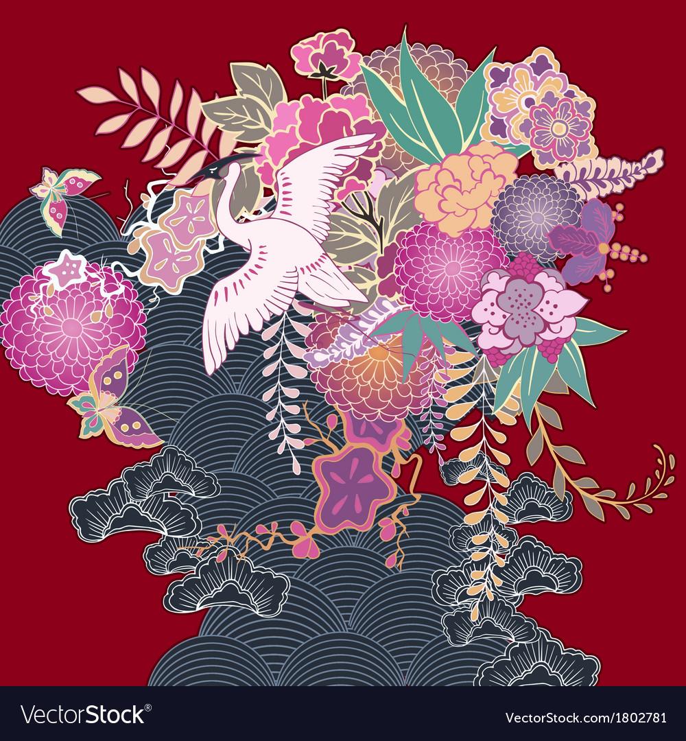 Vintage kimono floral motif vector | Price: 1 Credit (USD $1)