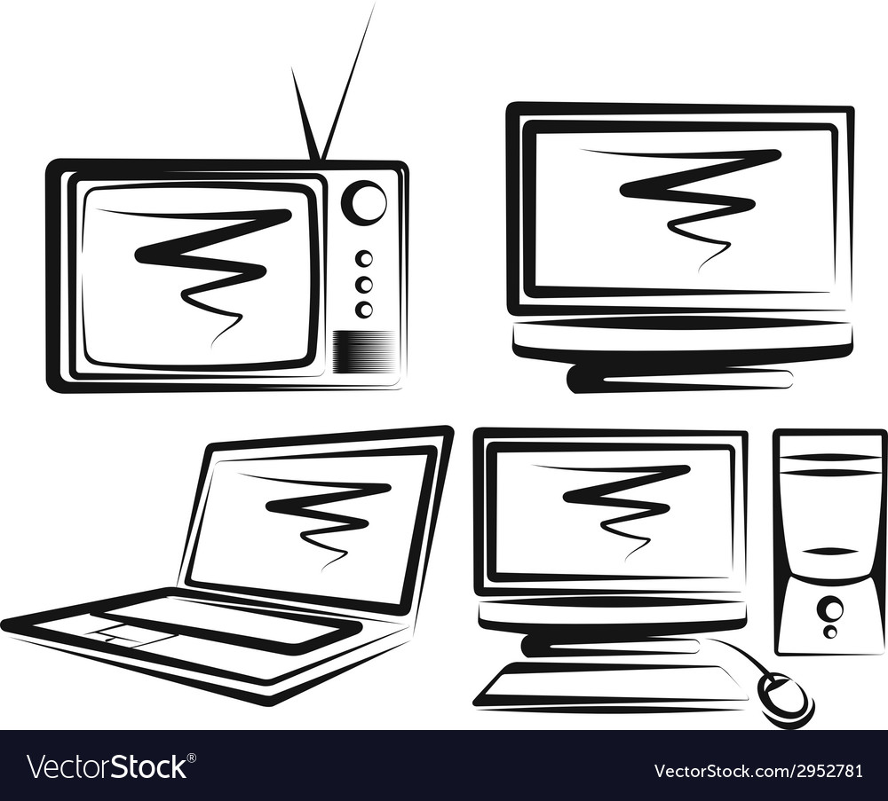 With a set of computers and tv-sets vector | Price: 1 Credit (USD $1)