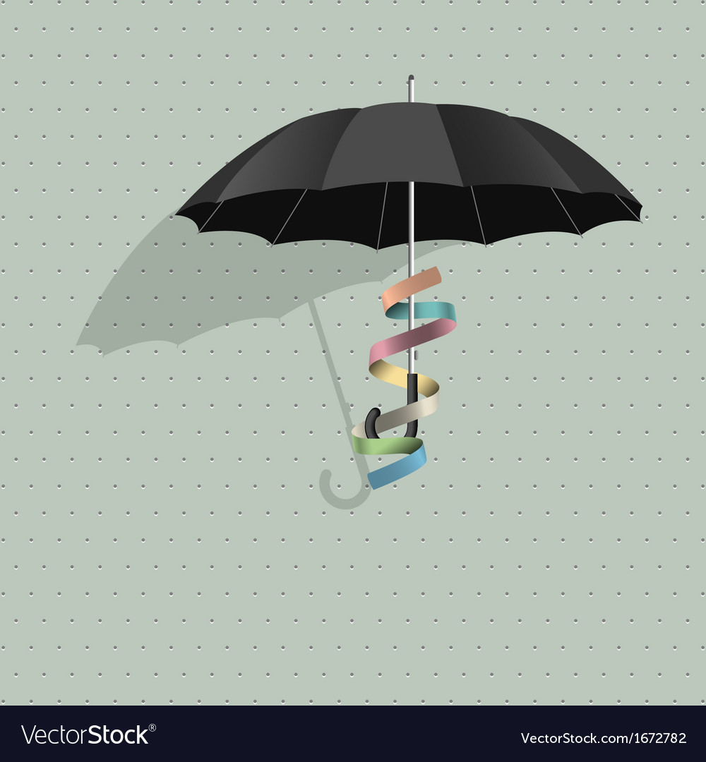 Black umbrella with colorful ribbon vector | Price: 1 Credit (USD $1)