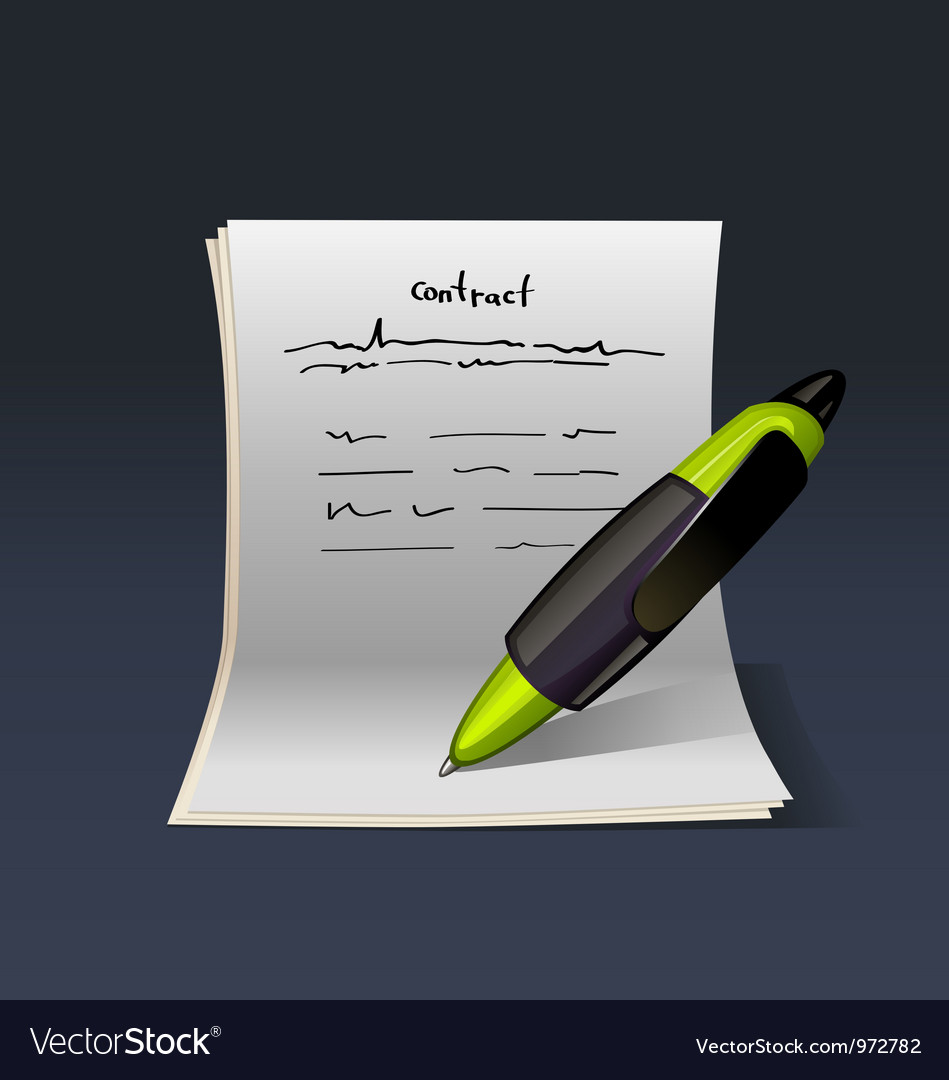 Blank note paper with green pen contract vector | Price: 3 Credit (USD $3)
