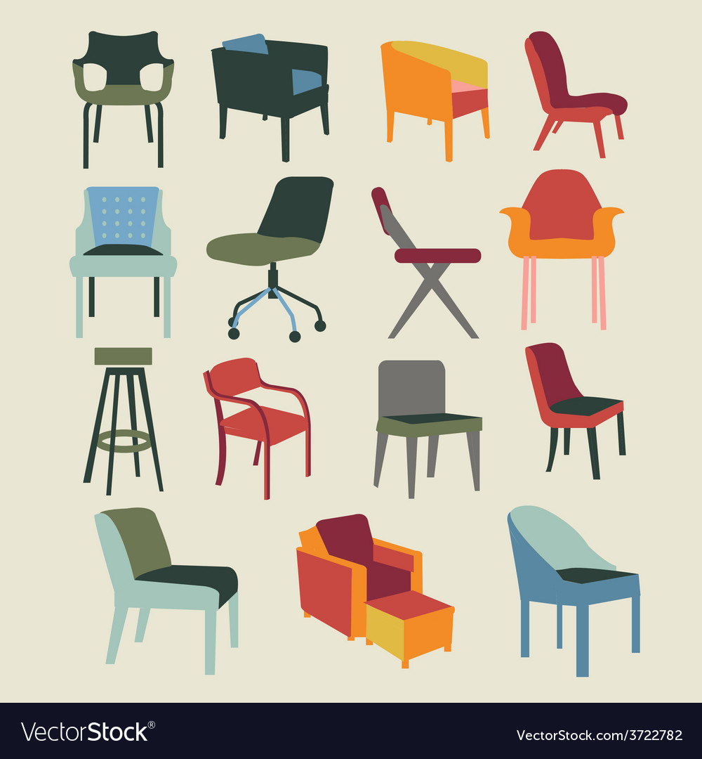 Chair set of chairs interior furniture vector | Price: 1 Credit (USD $1)