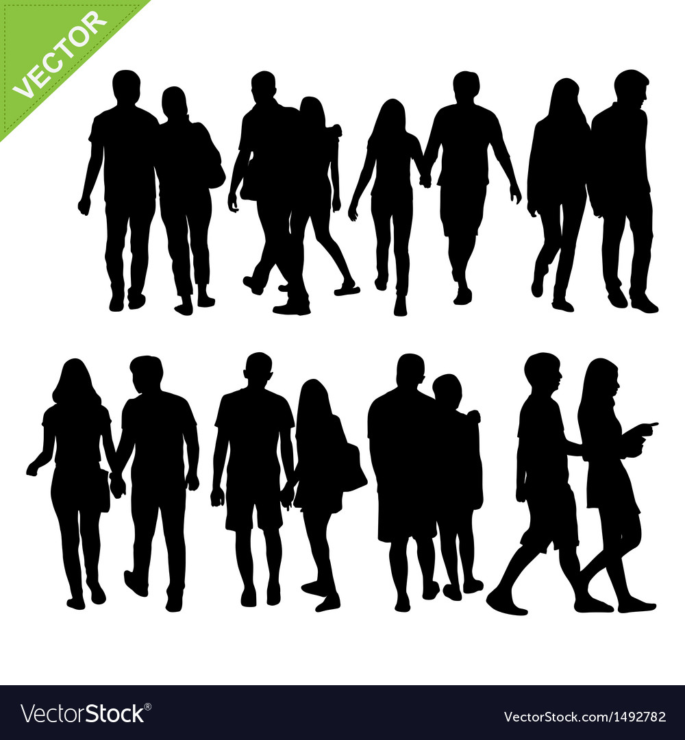 Couples silhouettes vector | Price: 1 Credit (USD $1)
