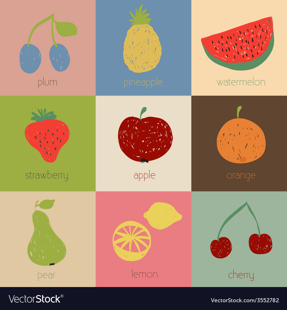 Doodle fruit icons in retro colors vector | Price: 1 Credit (USD $1)