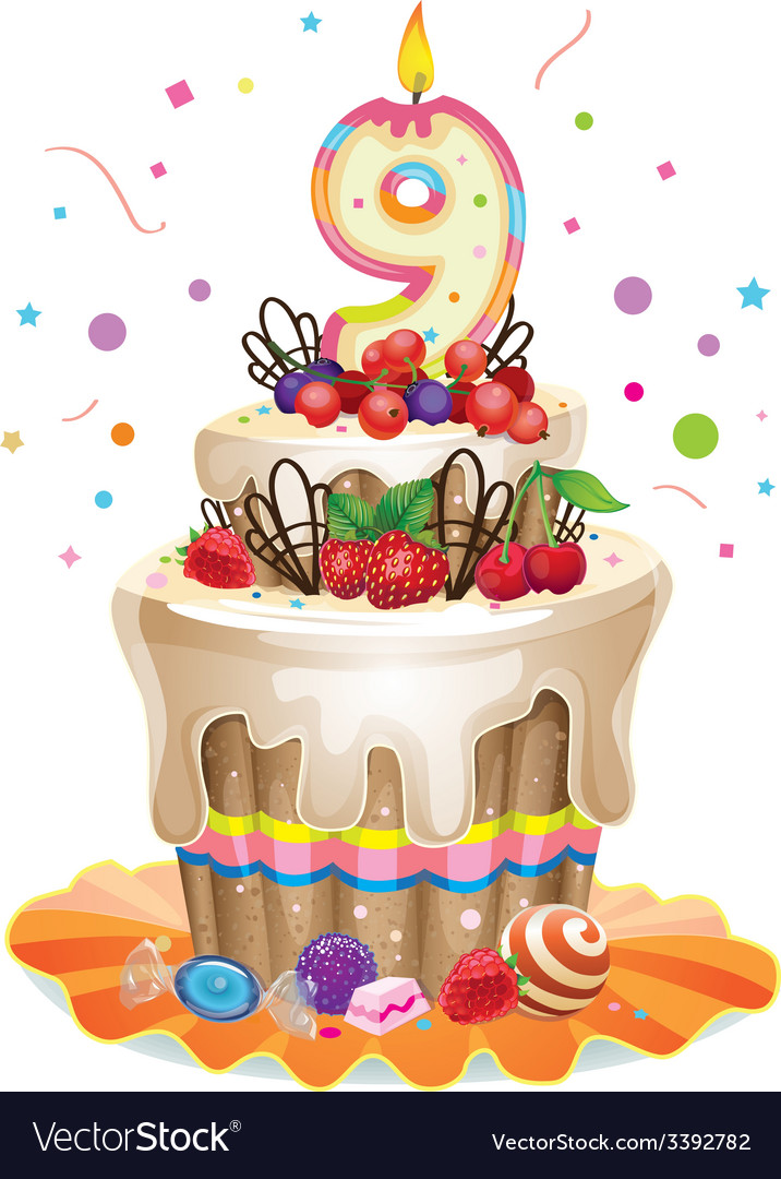 Happy birthday cake 9 vector | Price: 3 Credit (USD $3)