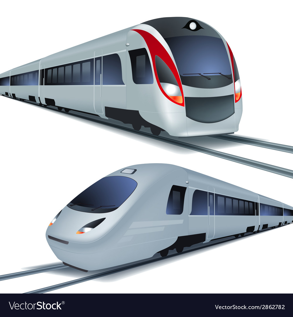 High speed trains isolatetd on white background vector | Price: 1 Credit (USD $1)