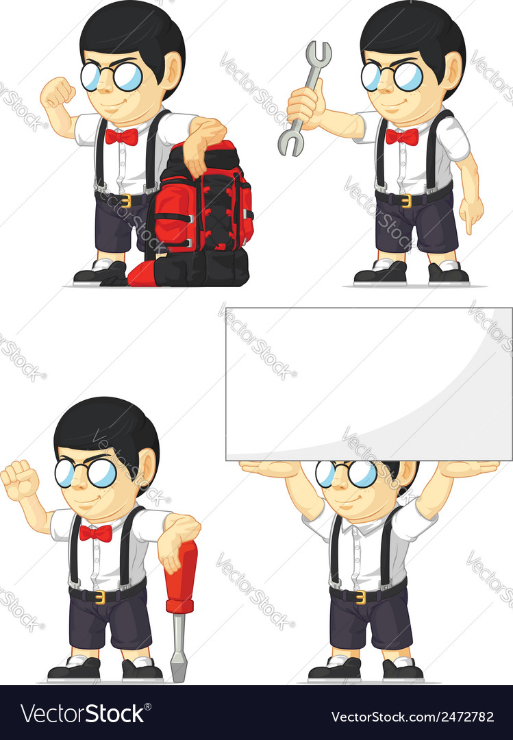 Nerd boy customizable mascot 6 vector | Price: 1 Credit (USD $1)