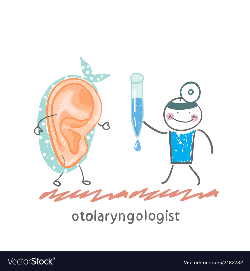 Otolaryngologist gives a patient ear drops vector | Price: 1 Credit (USD $1)
