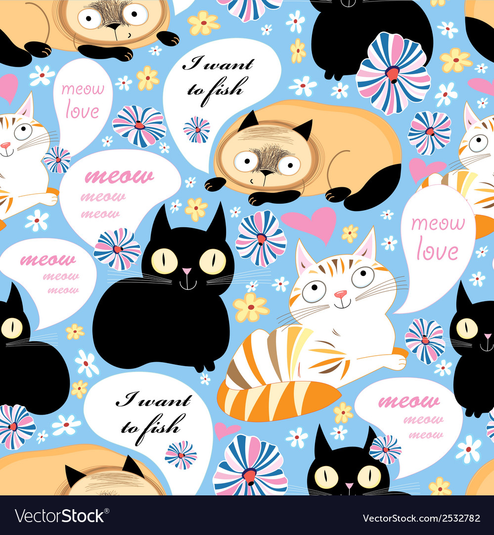 Pattern of funny cats vector | Price: 1 Credit (USD $1)