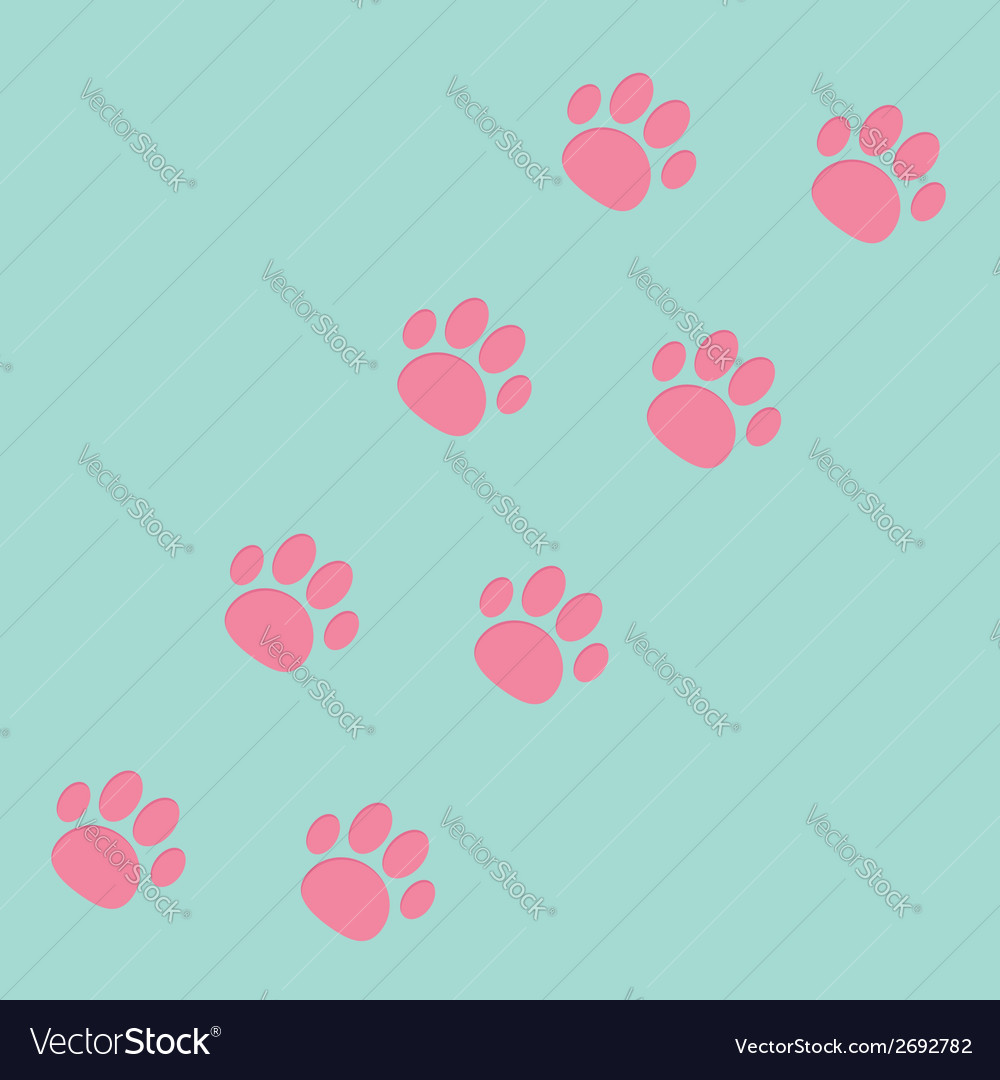 Paw print track diagonal blue and pink vector | Price: 1 Credit (USD $1)