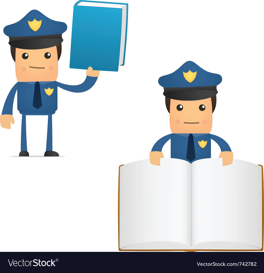 Policeman with books vector | Price: 1 Credit (USD $1)