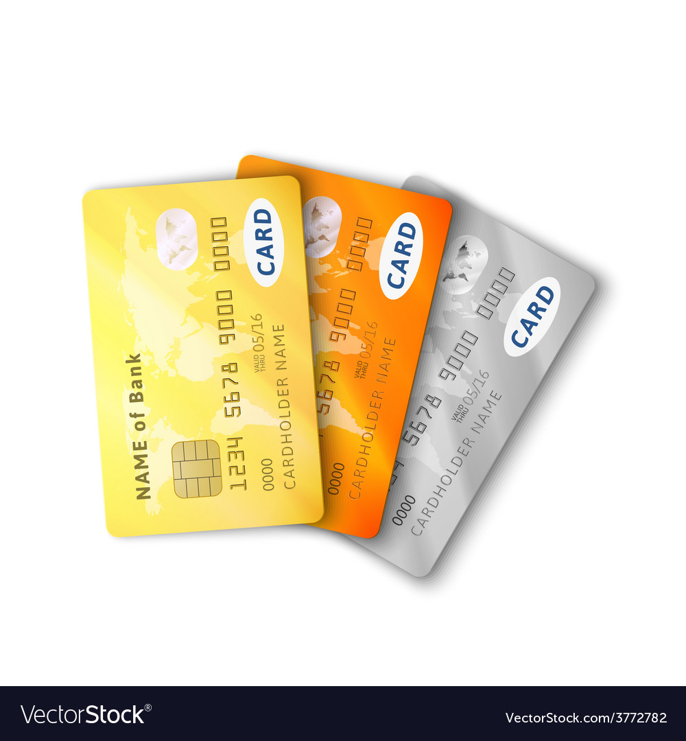 Set of detailed glossy credit cards with two sides vector | Price: 1 Credit (USD $1)