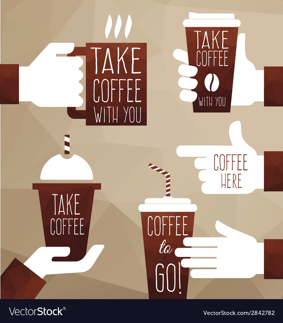 Take coffee with you vector | Price: 1 Credit (USD $1)