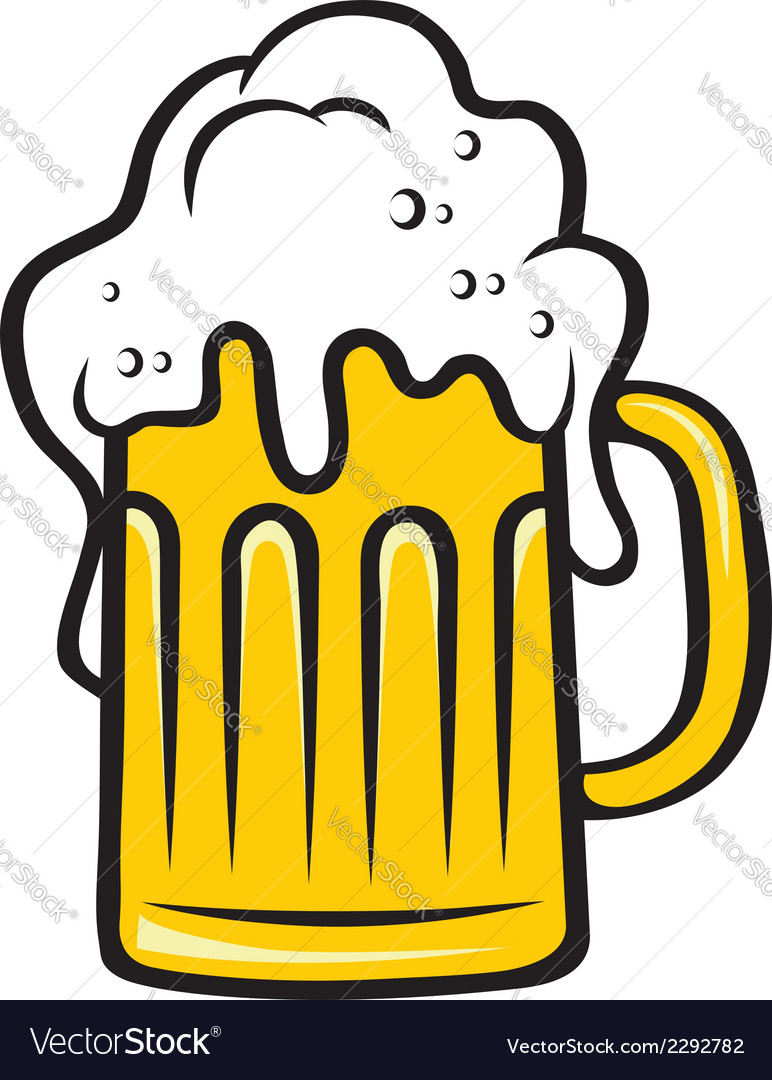 Tankard of beer with a big frothy head vector | Price: 1 Credit (USD $1)