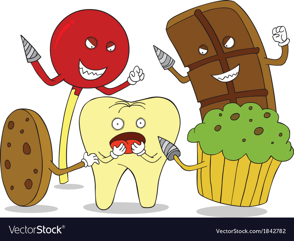 Tooth enemies cartoon vector | Price: 1 Credit (USD $1)