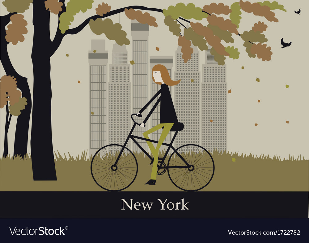 Woman on the bicycle in new york vector   Price: 1 Credit (USD $1)