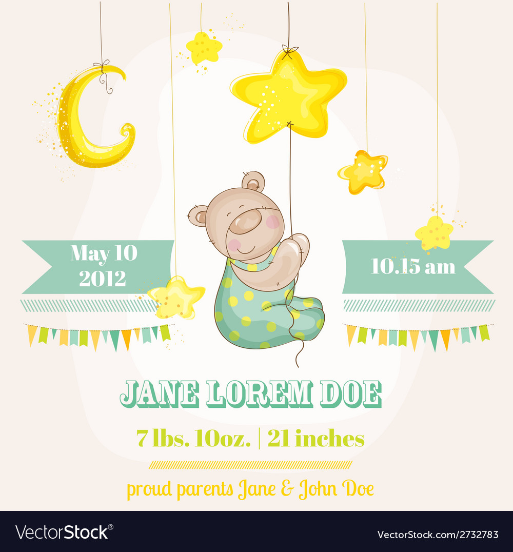 Baby boy arrival card - baby bear with moon vector | Price: 1 Credit (USD $1)