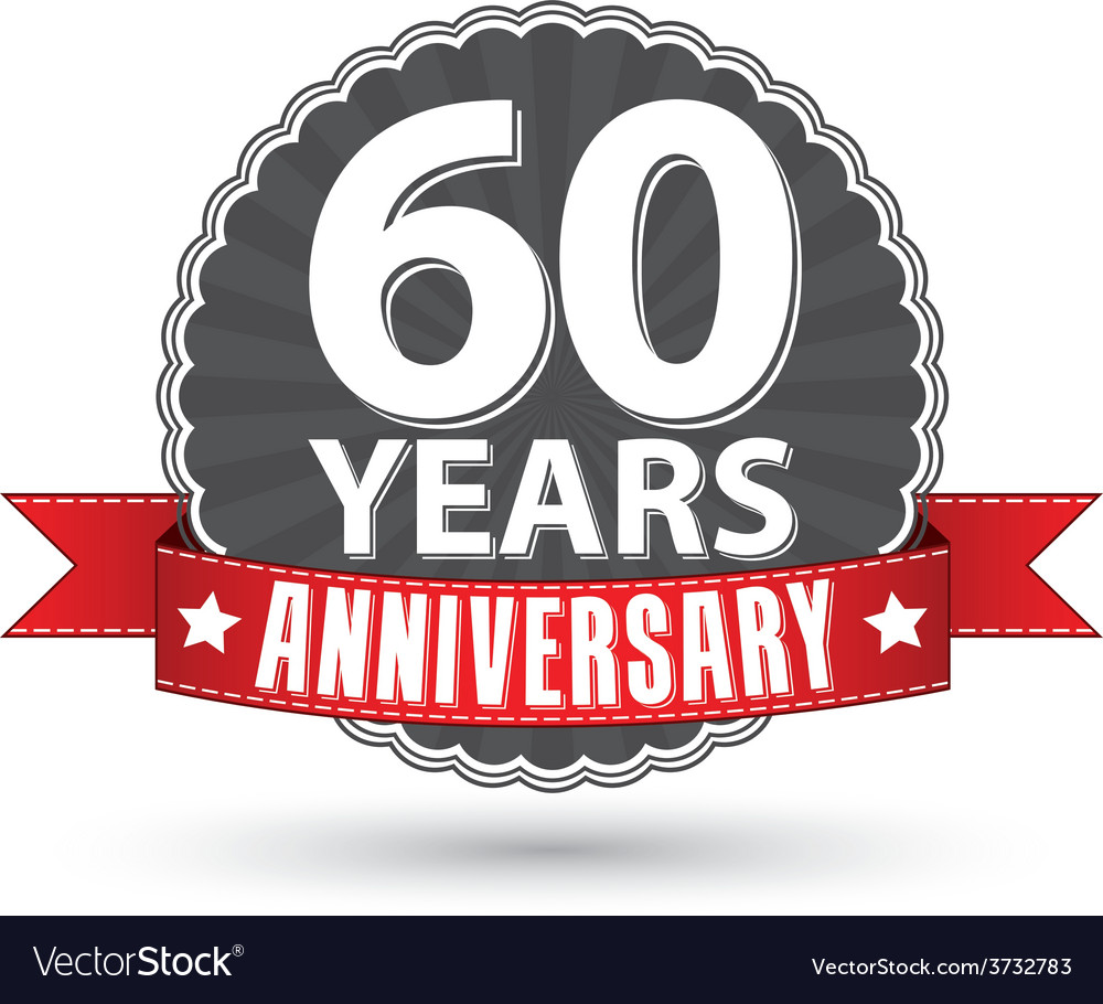 Celebrating 60 years anniversary retro label with vector | Price: 1 Credit (USD $1)