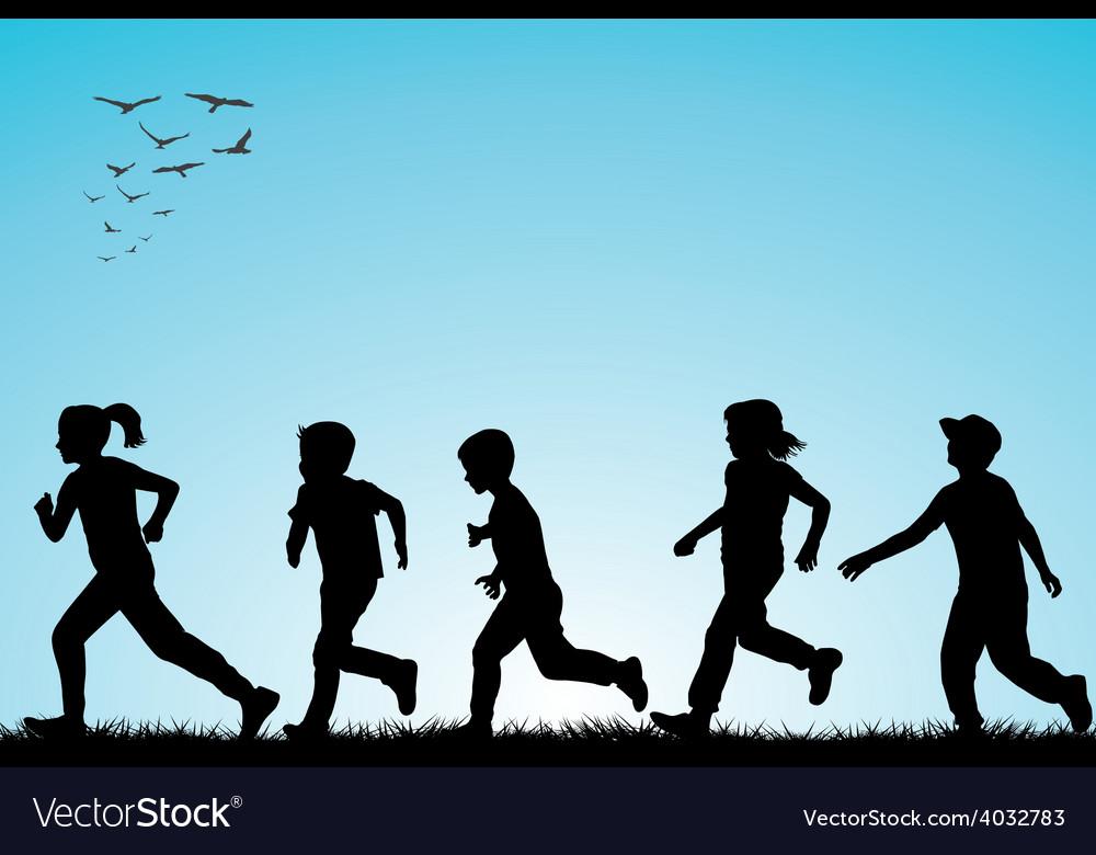 Children running outdoor vector | Price: 1 Credit (USD $1)