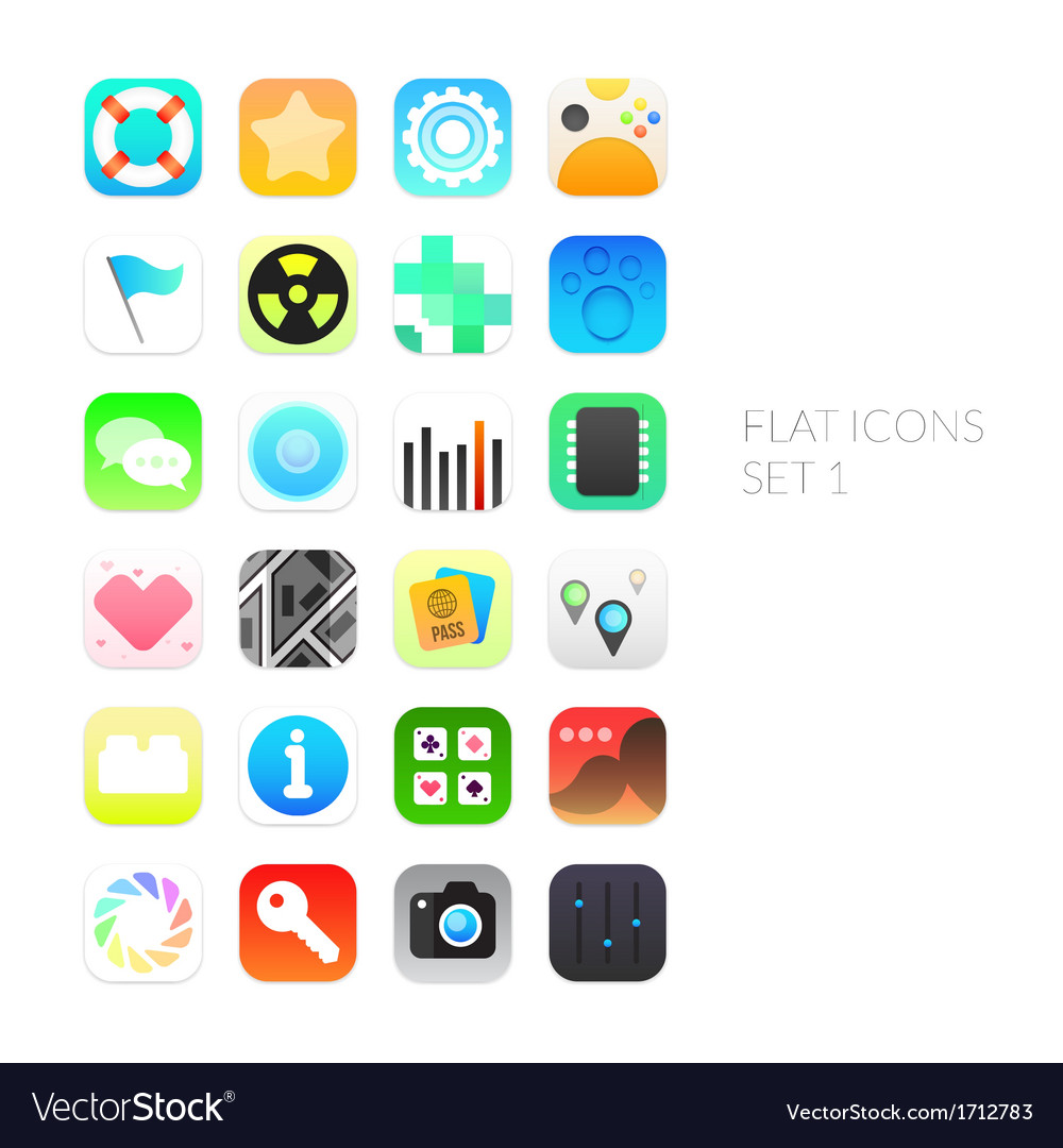 Flat icons gradient style with rounded corners vector | Price: 1 Credit (USD $1)
