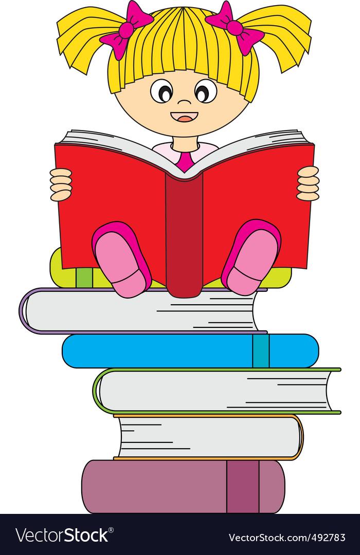 Girl book vector | Price: 1 Credit (USD $1)