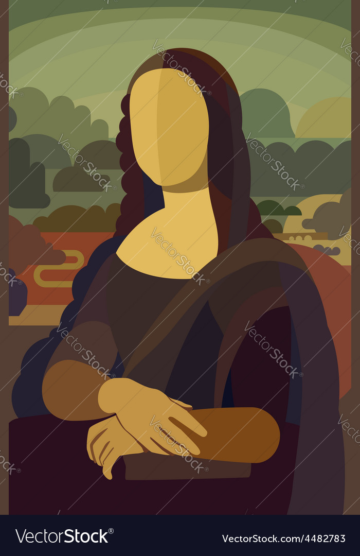 Mona lisa in flat style vector | Price: 1 Credit (USD $1)