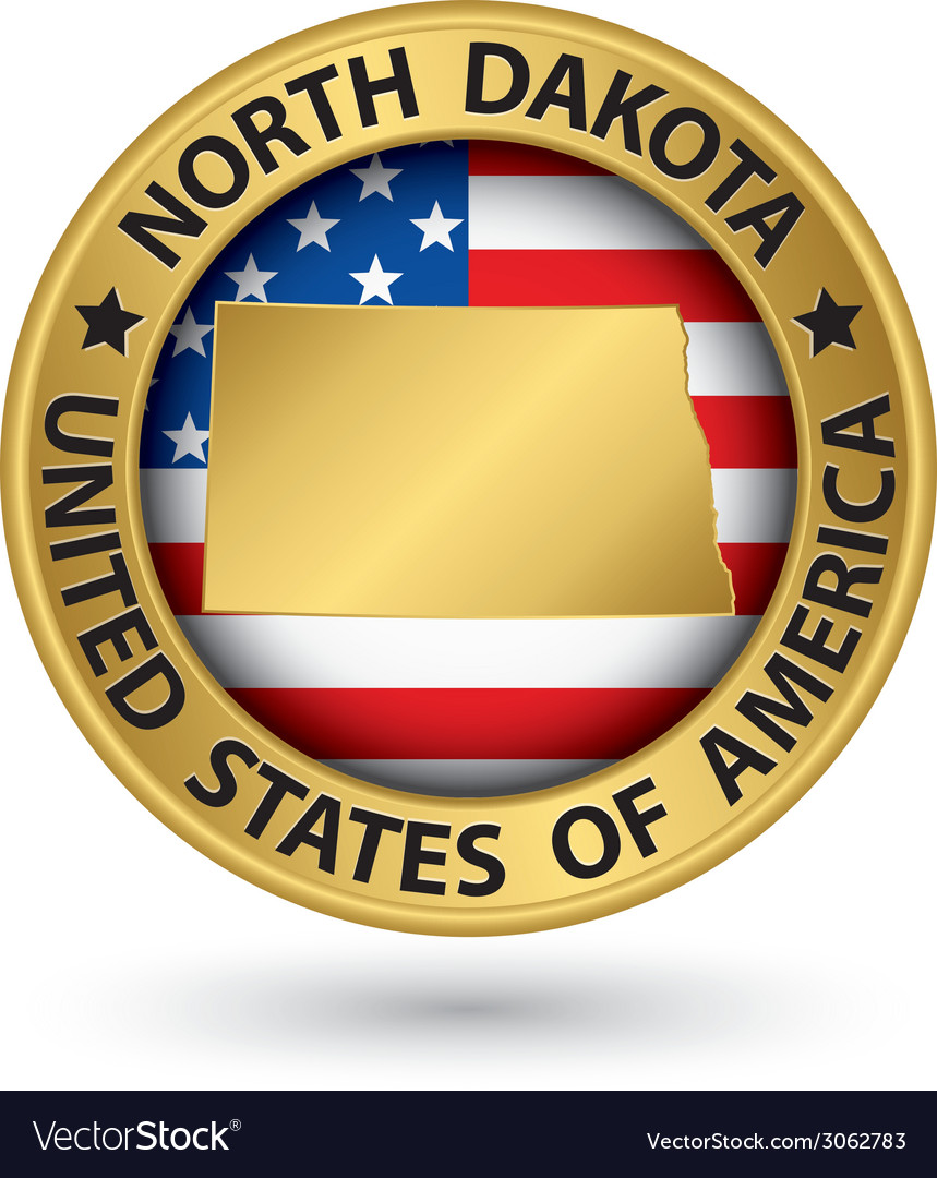 North dakota state gold label with state map vector | Price: 1 Credit (USD $1)