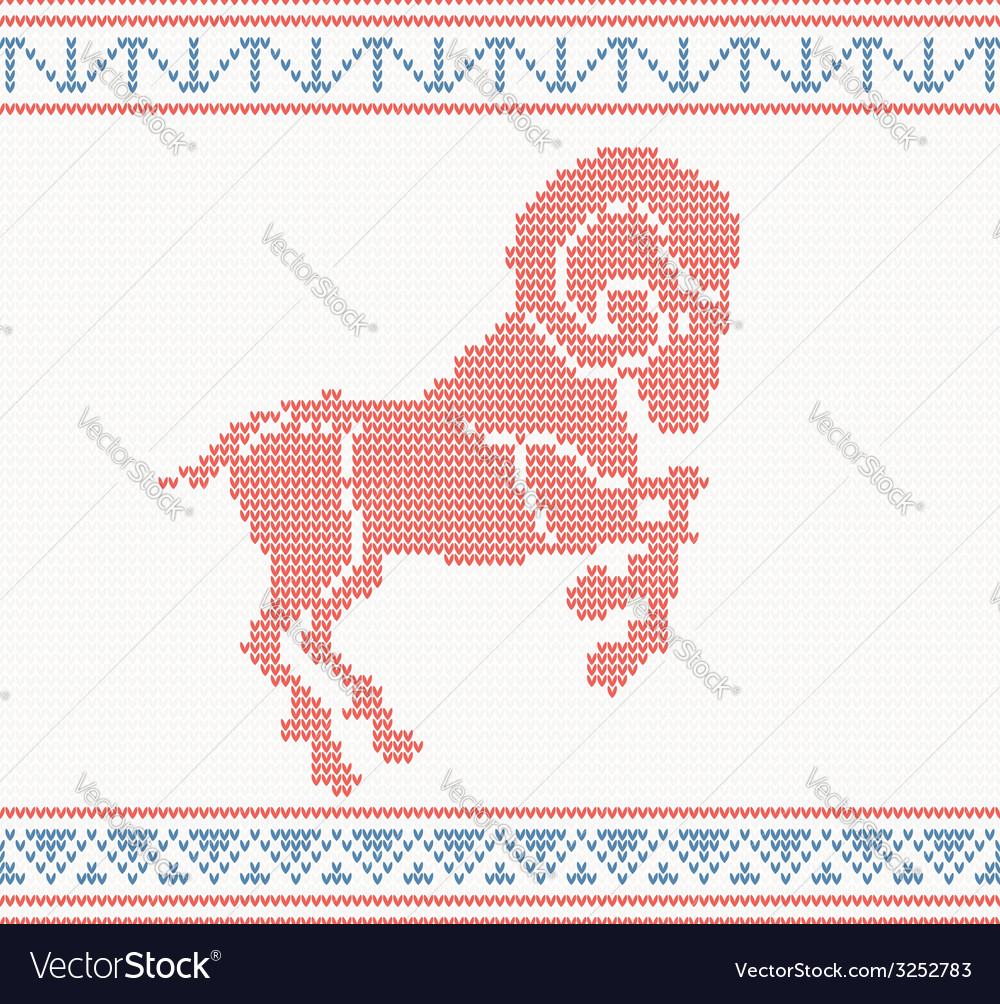 Red knitted pattern with sheep or goat vector | Price: 1 Credit (USD $1)