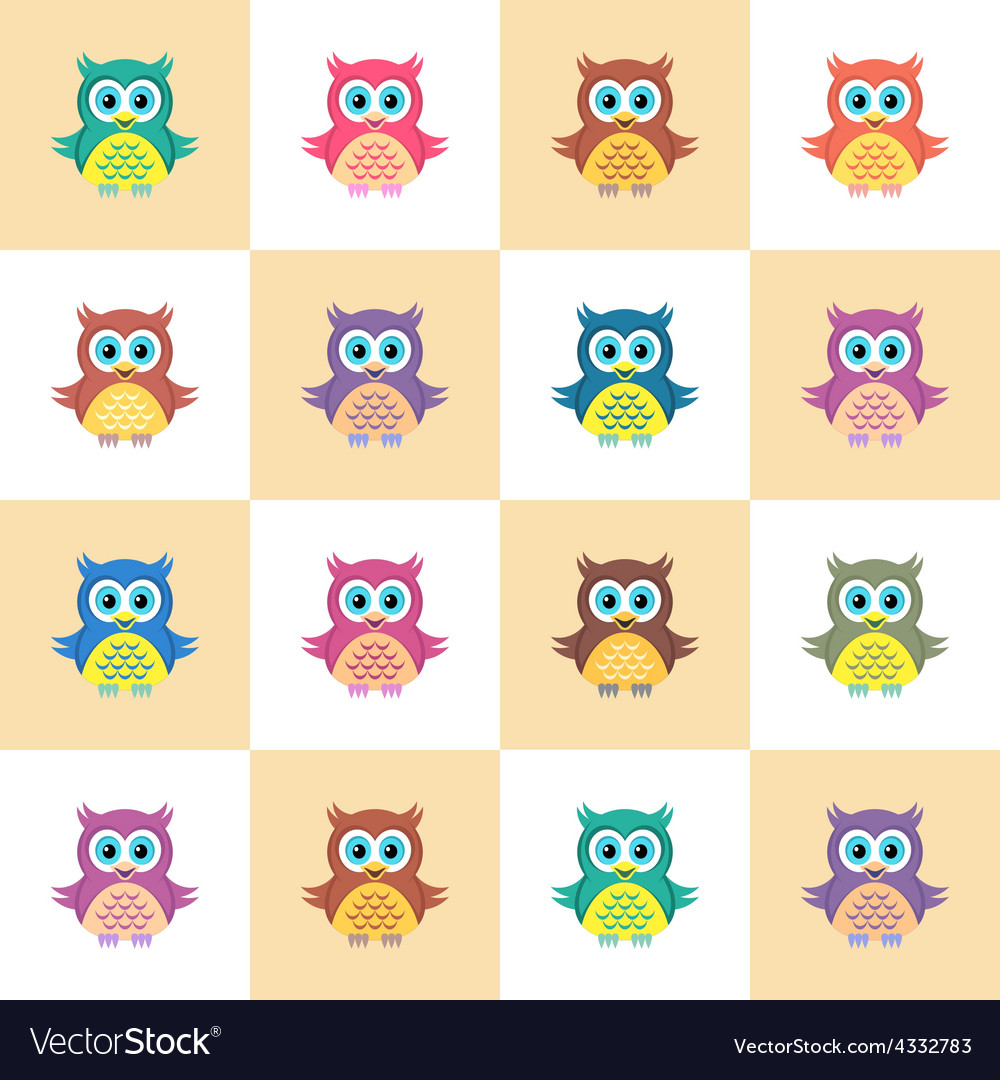 Seamless pattern with owls vector | Price: 1 Credit (USD $1)