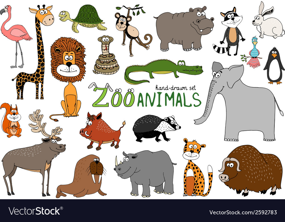 Set of handdrawn zoo animals vector