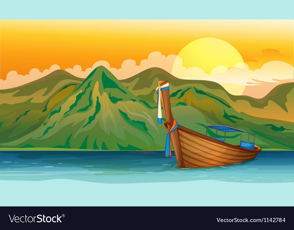 A boat lost in the sea vector | Price: 1 Credit (USD $1)