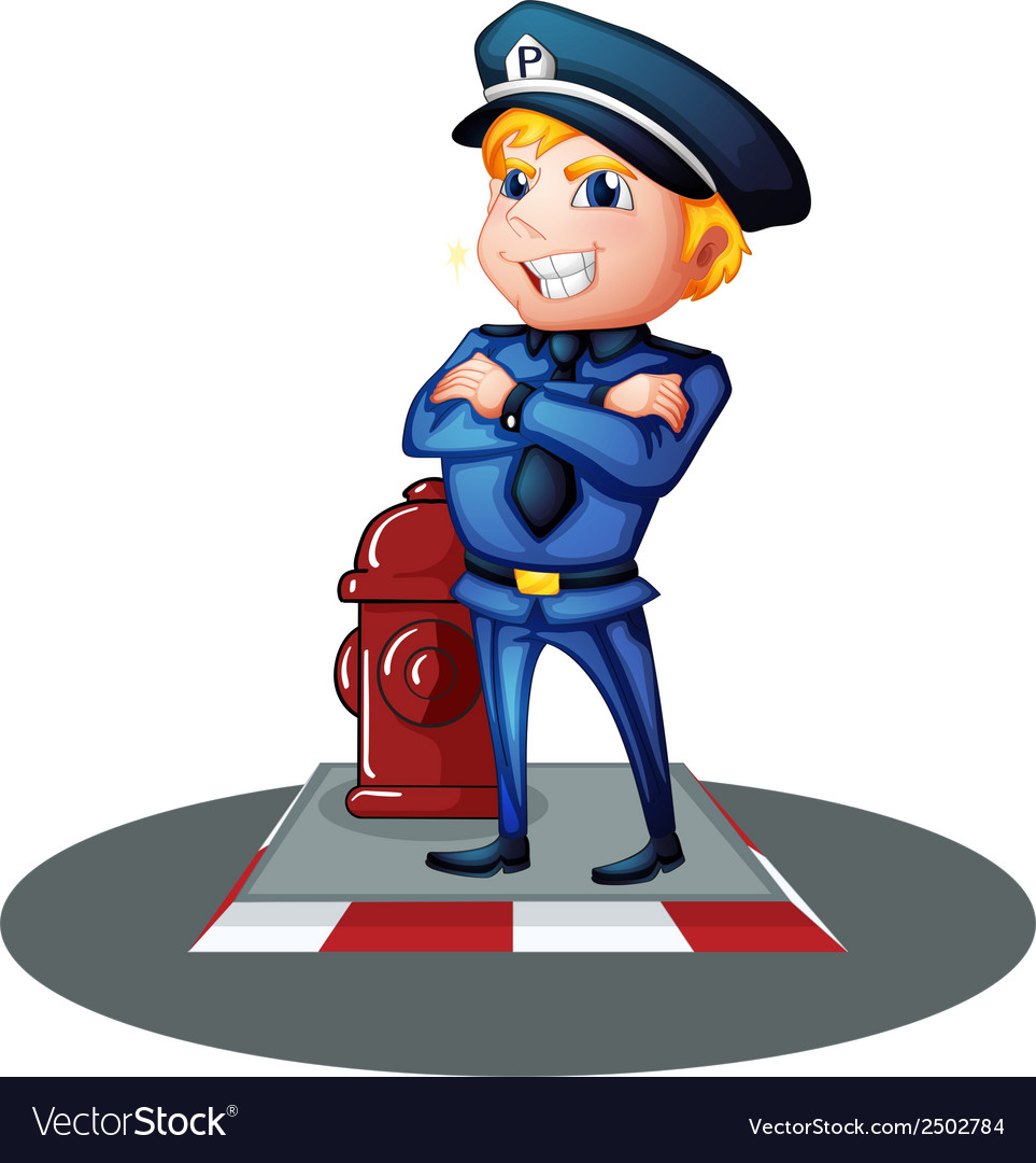 A smiling policeman at the street vector | Price: 1 Credit (USD $1)