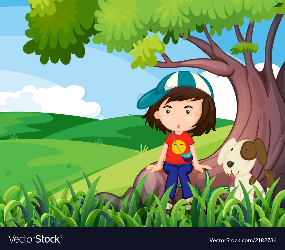 A young girl and her pet under the tree vector | Price: 3 Credit (USD $3)