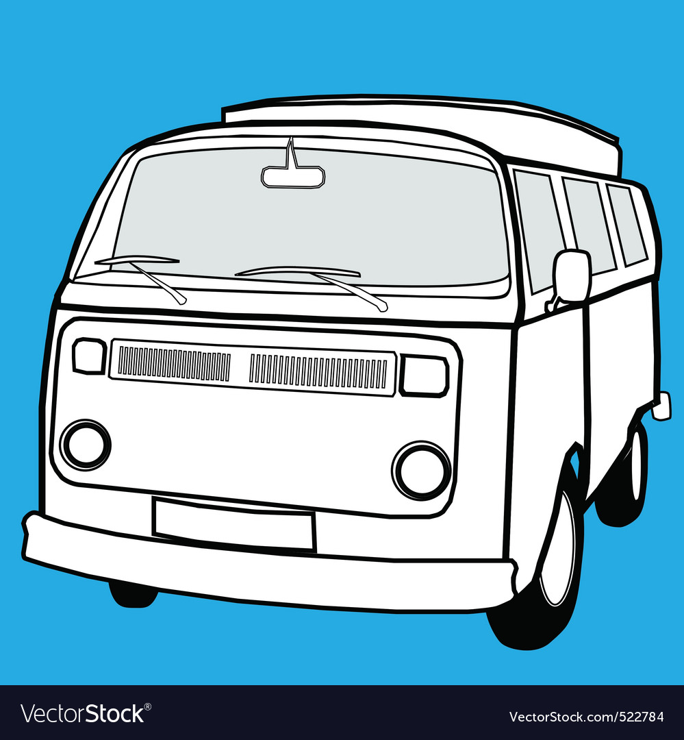 Black and white campervan vector | Price: 1 Credit (USD $1)
