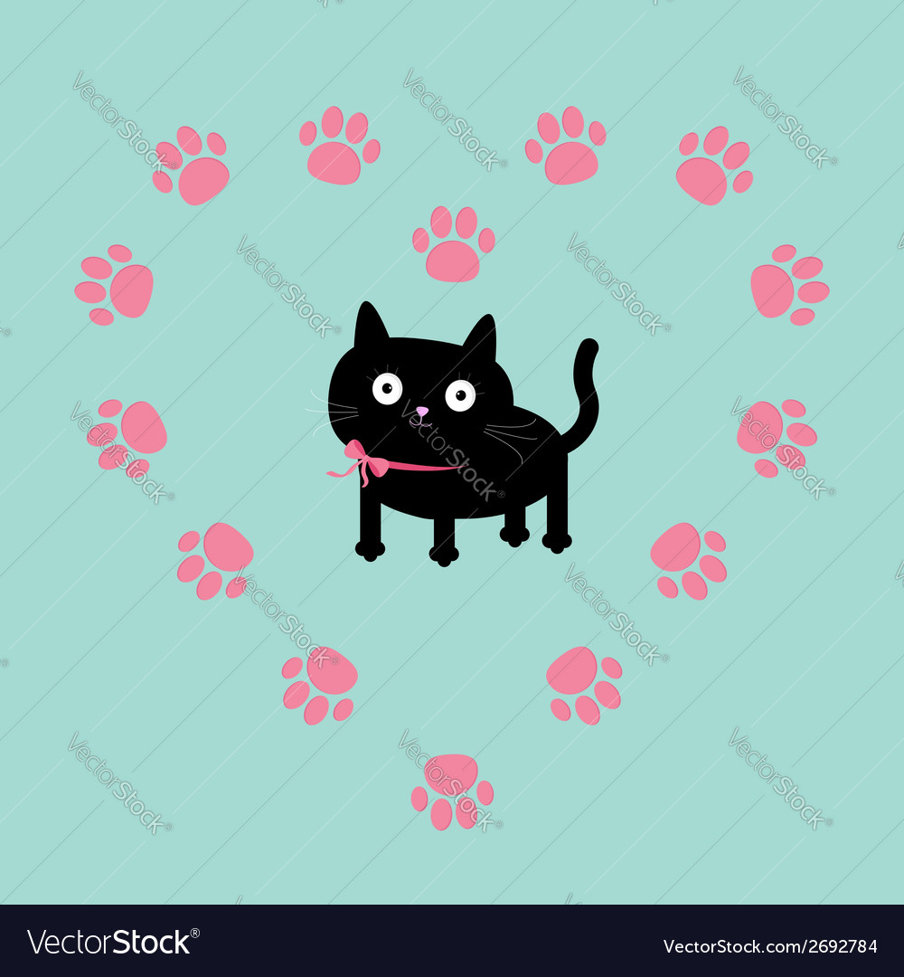 Cat inside paw print heart frame flat design vector | Price: 1 Credit (USD $1)