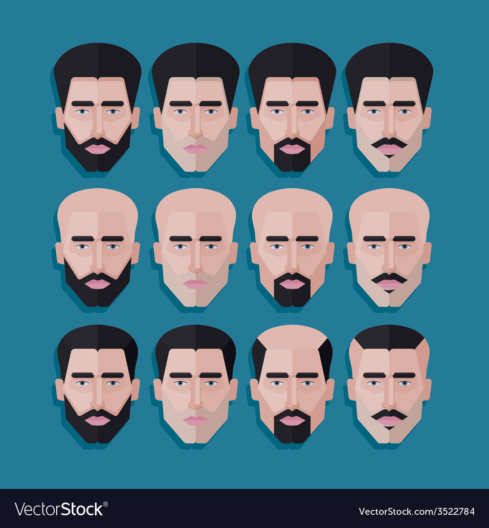 Set of male faces in flat polygonal style men hair vector | Price: 1 Credit (USD $1)