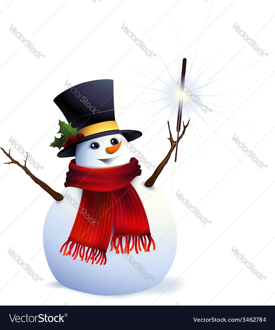 Snowman with christmas sparkler vector | Price: 1 Credit (USD $1)